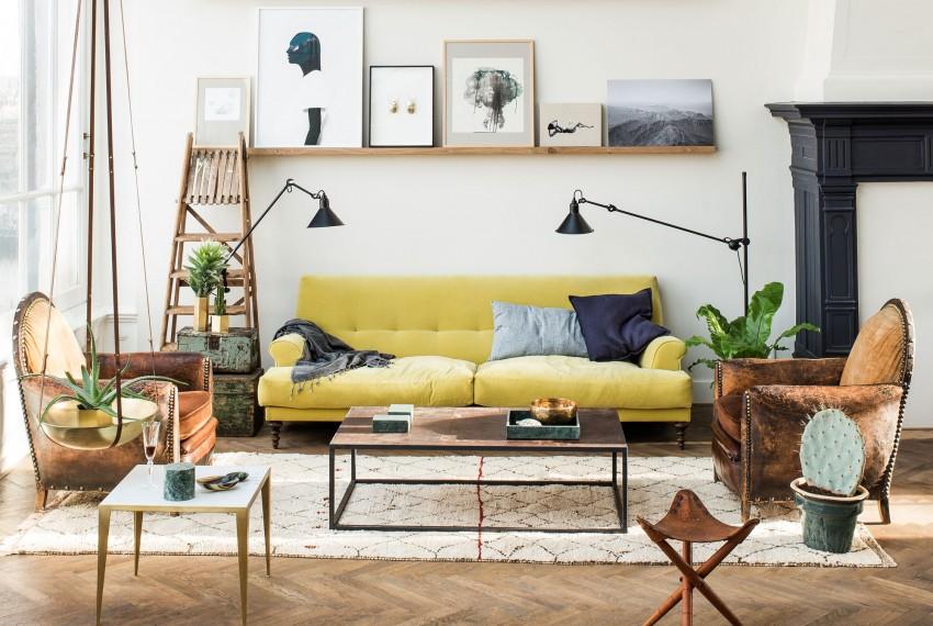 Appartement lumineux façon Kinfolk, canapé jaune