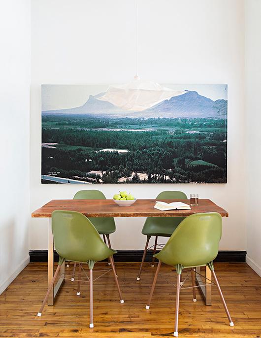 appartement-brooklyn-rétro-américain-salle-a-manger-chaise-verte-mademoiselle-claudine