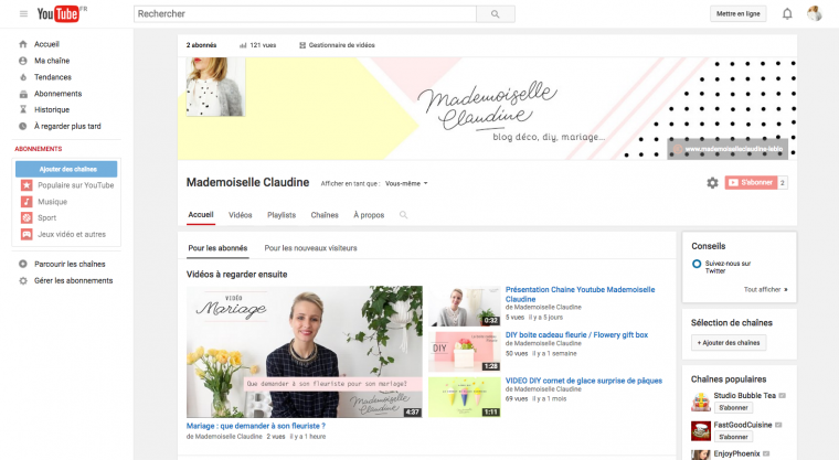 mademoiselle-claudine-chaine-youtube