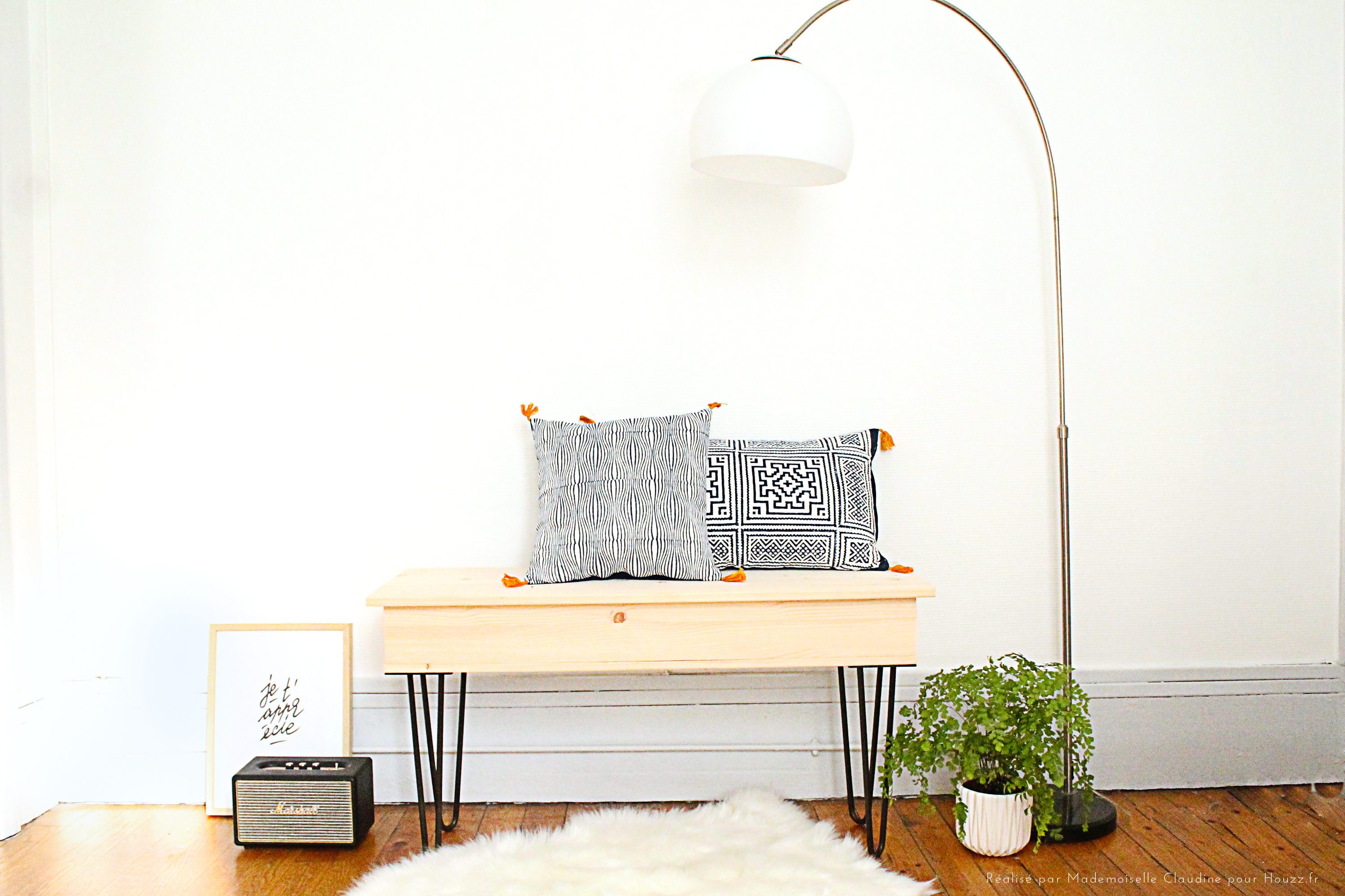diy fabriquer un banc coffre avec des hairpin legs mademoiselle claudine le blog. Black Bedroom Furniture Sets. Home Design Ideas