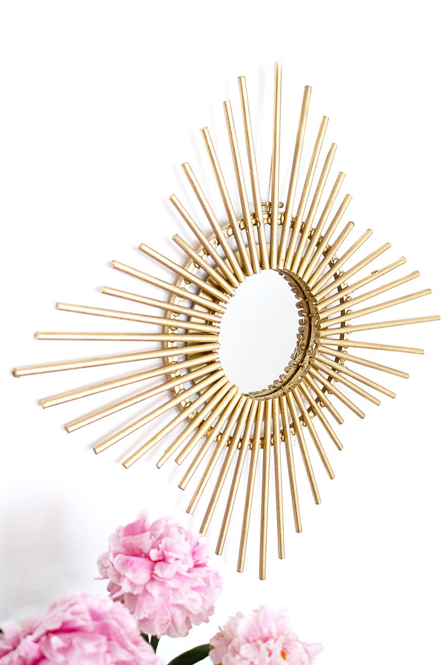 Diy miroir soleil dor mademoiselle claudine le blog for Petit miroir soleil