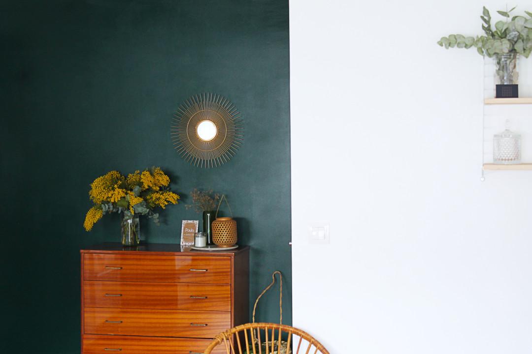 mur vert commode vintage mademoiselle claudine
