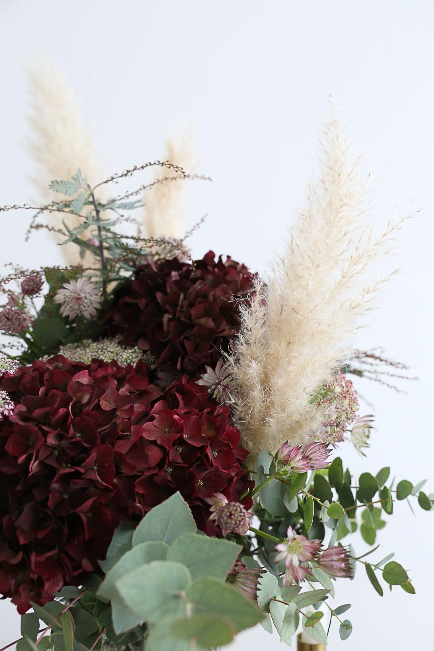 bouque de fleur hortensia herbe de pampa mademoiselle claudine